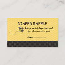 Cute Bumble Bees Diaper Raffle Tickets Enclosure Card