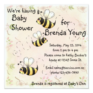 Cute Bumble Bees Flower Country Shower Invitation