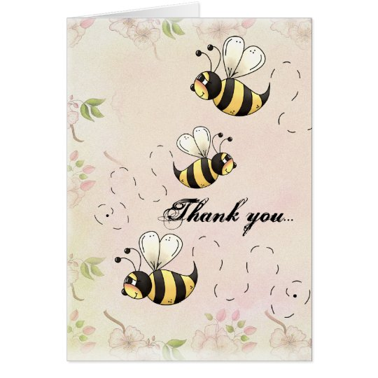 Cute Bumble Bees Flower Country Thank You Card