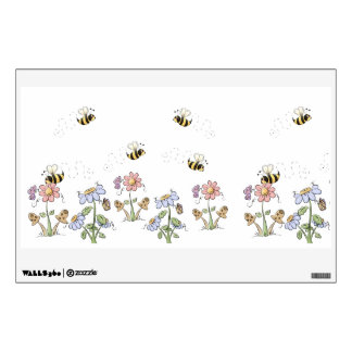 Cute Bumble Bees Flower Country Wall Decal