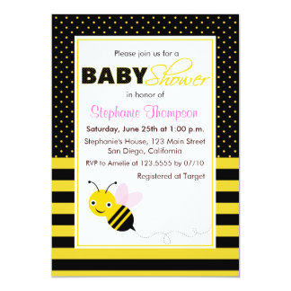 Cute Bumble Bees Girl Baby Shower Invitation