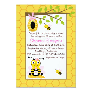 """Cute Bumble Bees Girl Baby Shower Invitations 5"""" X 7"""" Invitation Card"""