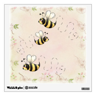 Cute Bumble Bees Roses Country Wall Sticker