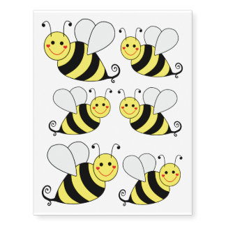 Cute Bumble Bees Temporary Tattoos