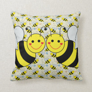 Cute Bumble Bees with Pattern Throw Pillow