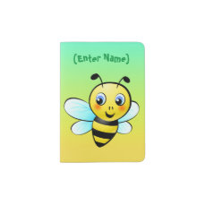 Cute Bumblebee Cartoon Passport Holder