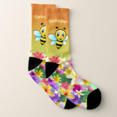 Cute Bumblebee Cartoon Socks