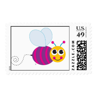 Cute Bumblebee Postcard Stamp
