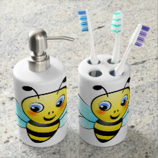 Cute Bumblebee Soap Dispenser And Toothbrush Holder