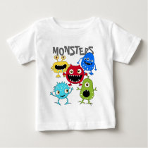 Cute Bunch of Monsters Infant T Shirts