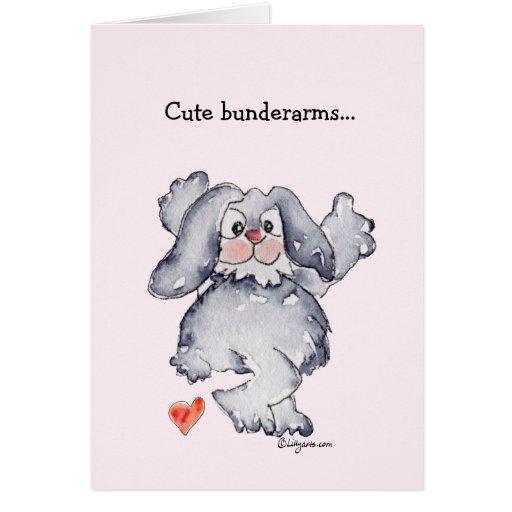Cute Bunderarms Cartoon Rabbit Love Cards