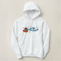 cute bundled up for winter cardinal bird design embroidered hoodie
