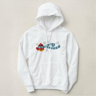 cute bundled up for winter cardinal bird design embroidered hoodie