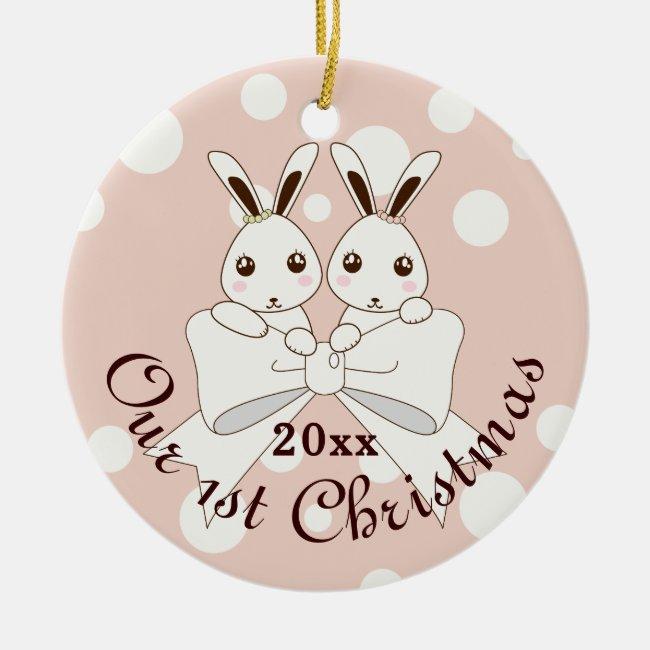 Cute Bunnies and Ribbon Cartoon Pastel Pink Kids