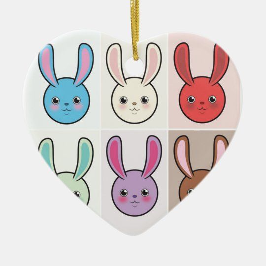 Cute Bunnies Ceramic Ornament