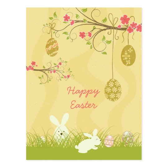 Cute bunnies & egg tree easter postcard