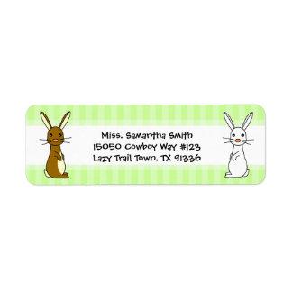 Cute Bunnies Green Stripe Return Address Labels
