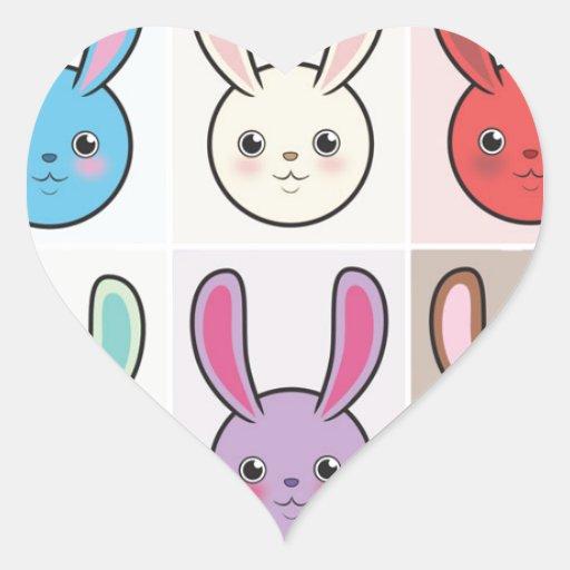 Cute Bunnies Heart Stickers
