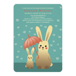 Cute Bunnies Mommy With Baby Shower Invitation