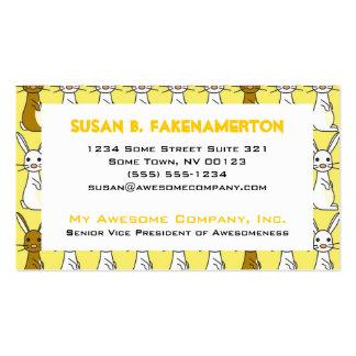 Cute Bunnies on Yellow Business Card