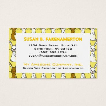 Professional Business Cute Bunnies on Yellow Business Card