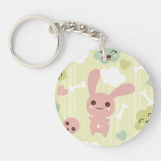 Cute Bunnies Pattern Keychain