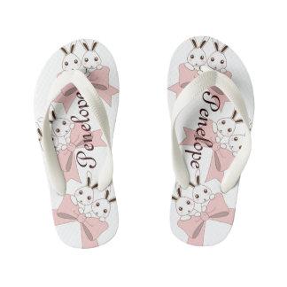 Cute Bunnies w/ Pink Ribbons Kids Name Girls Kid's Flip Flops