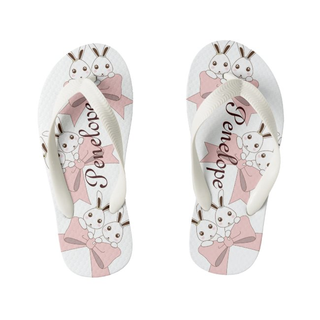 Cute Bunnies w/ Pink Ribbons Personalized