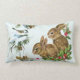 Cute Bunnies with Christmas Holly Berries Pillow