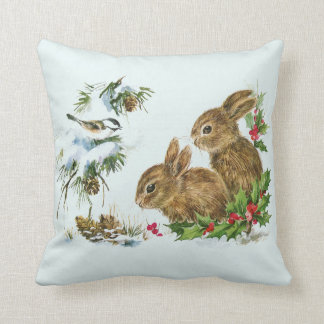 Cute Bunnies with Christmas Holly Berries Throw Pillow