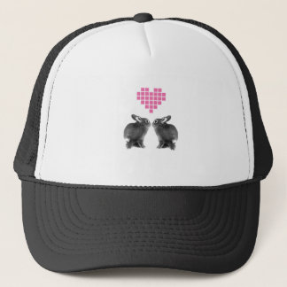 Cute bunnies with pink pixel heart trucker hat