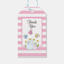 Cute Bunnies with Spring Daisies and Butterflies Gift Tags