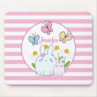 Cute Bunnies with Spring Daisies and Butterflies Mouse Pad