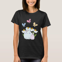 Cute Bunnies with Spring Daisies and Butterflies T-Shirt