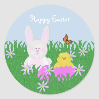 Cute Bunny and Baby Duck Happy Easter Stickers sticker