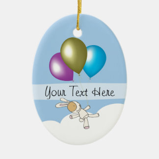 Cute Bunny and Balloons, Customisable Name Gifts Ceramic Ornament