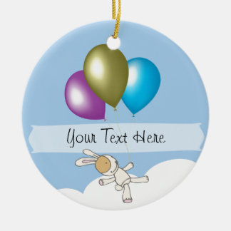 Cute Bunny and Balloons, Customisable Name Gifts Double-Sided Ceramic Round Christmas Ornament
