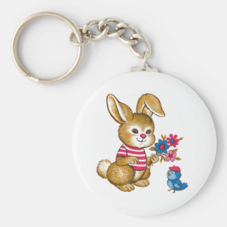 Cute Bunny and Bluebird Keychain