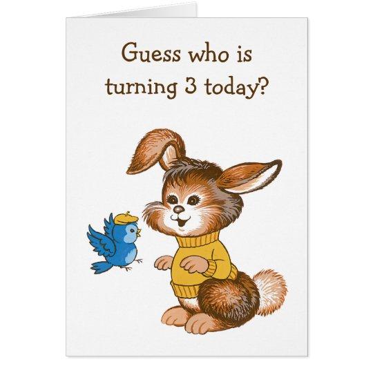 Cute Bunny and Bluebird Kids Third Birthday Card