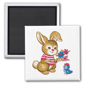 Cute Bunny and Bluebird Magnet