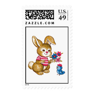 Cute Bunny and Bluebird Postage