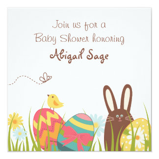 Cute Bunny and Easter Eggs Baby Shower Invitation