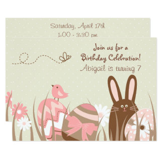 Cute Bunny and Easter Eggs Birthday Invite ~ Girls