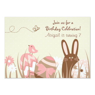 "Cute Bunny and Easter Eggs Birthday Invite ~ Girls 5"" X 7"" Invitation Card"