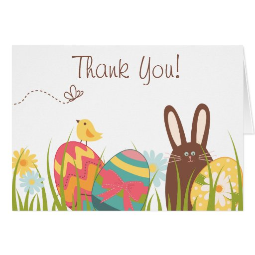 cute bunny and easter eggs holiday thank you card
