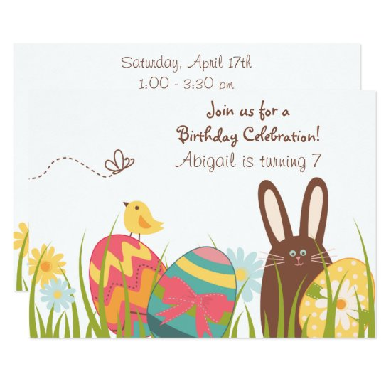 Cute Bunny and Easter Eggs Spring Birthday Invite