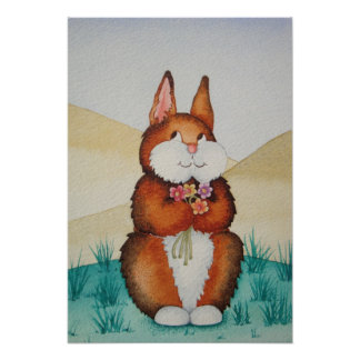 Cute Bunny and flowers children's art poster
