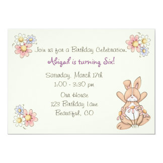 Cute Bunny and Flowers Girls Birthday Invitation
