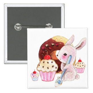 Cute bunny and kawaii cupcakes 2 inch square button