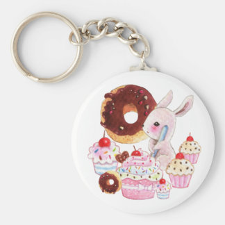 Cute bunny and kawaii cupcakes keychain